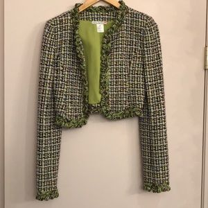 Oscar de la Renta green and purple tweed jacket
